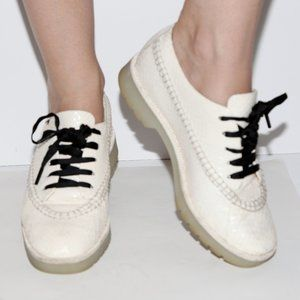ALEXANDER WANG White Snakeskin Leather Loafers